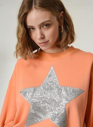 NGSTYLE Kadın Nakış Detaylı  Sweatshirt NGKSS21SW0023 Somon